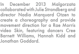 In December 2013 Malgorzata collaborated with Julie Strandberg and director Nadia Marquard Otzen to create a choreography and provide movement direction for a Rae Morris video Skin, featuring dancers Cree Barnett Williams, Hannah Kidd and Jonathan Goddard.